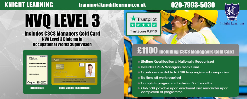 Cscs Gold Card >> Nvq Level 3 Diploma With Supervisors Cscs Gold Card Smsts